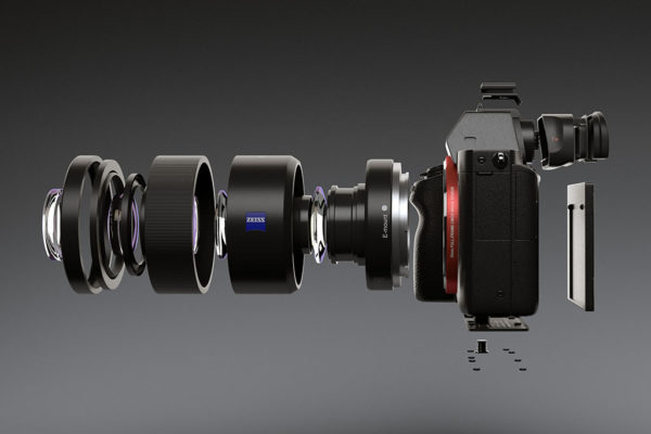 3d rendering of sony a7 camera exploded view