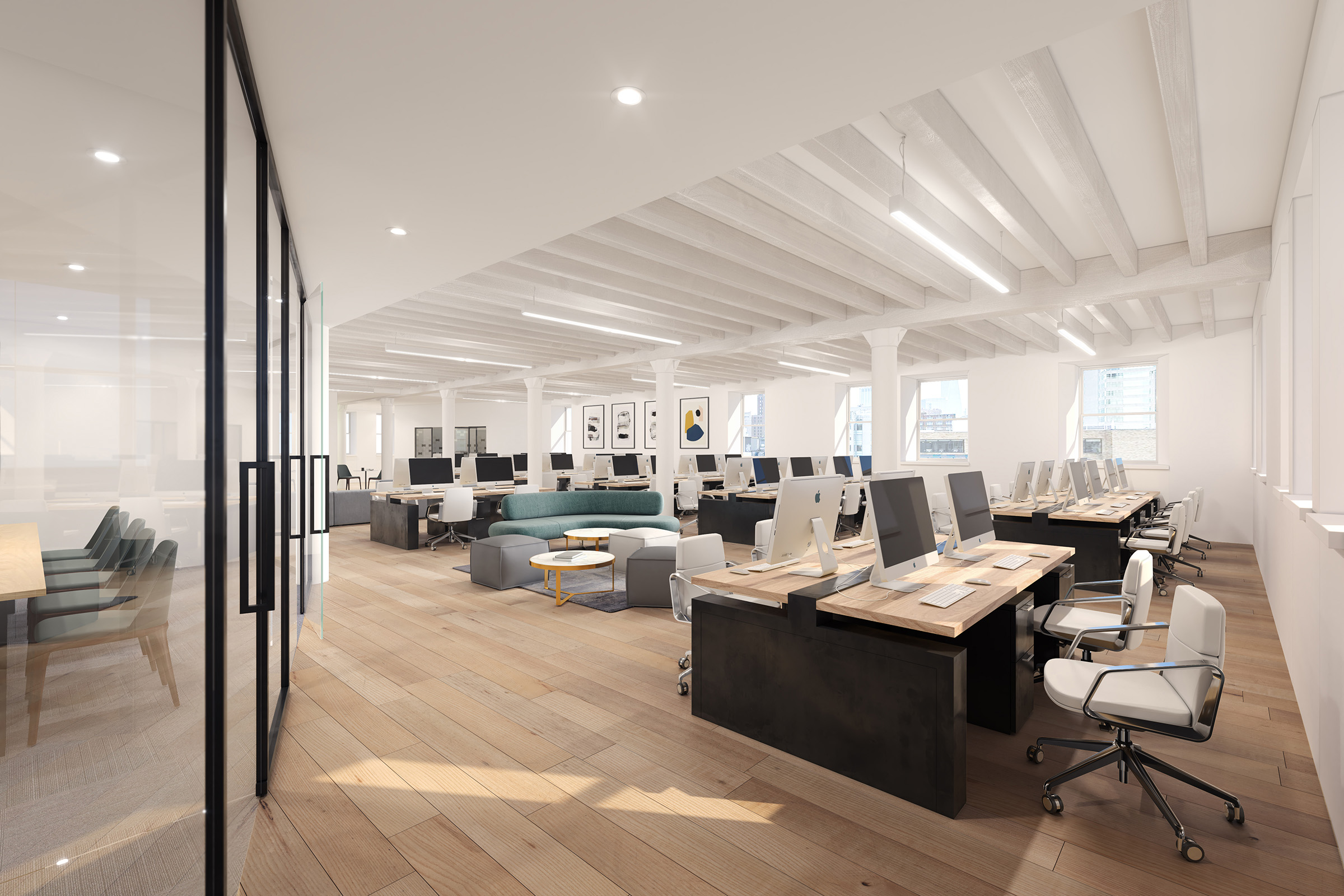 3d rendering of office open concept new york city