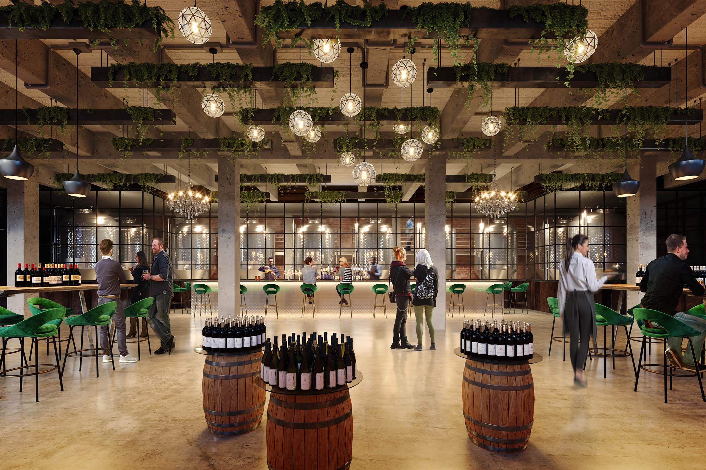 real estate rendering of wine bar in brooklyn new york