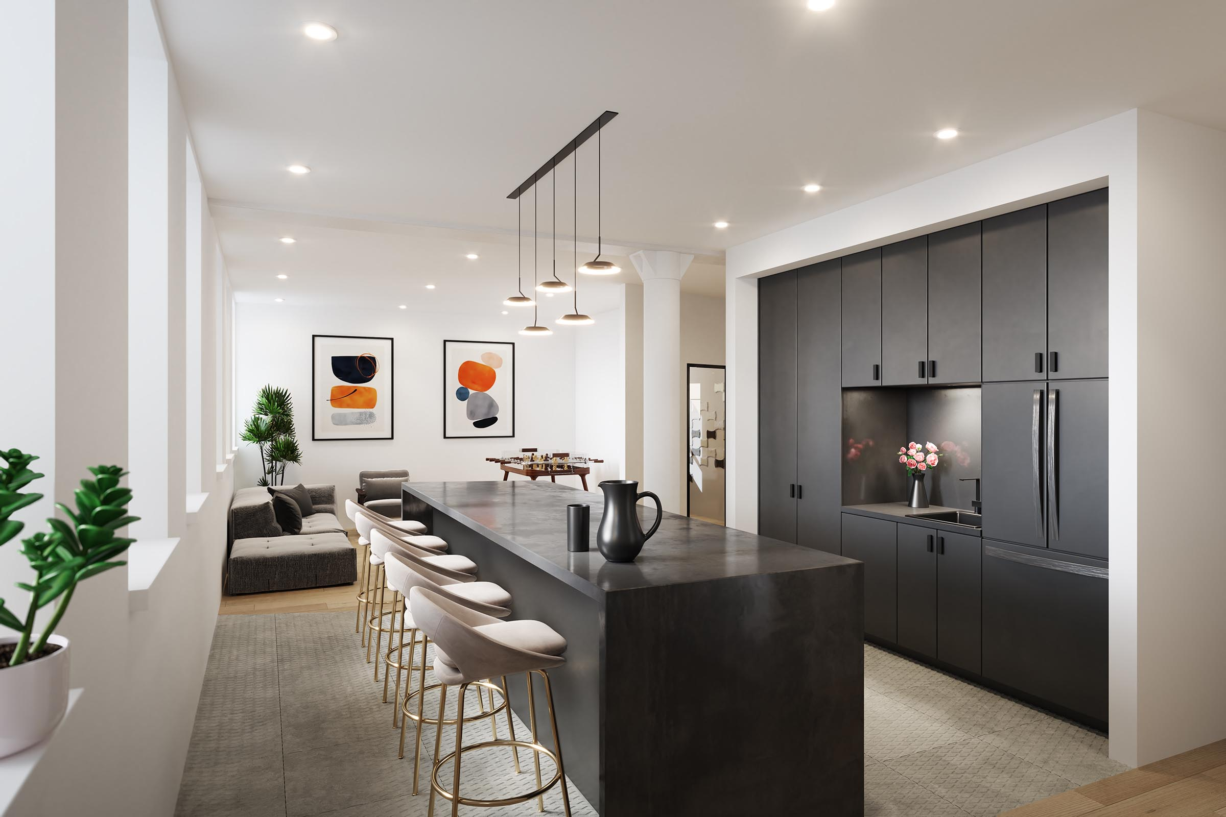 3d real estate rendering of office pantry new york city
