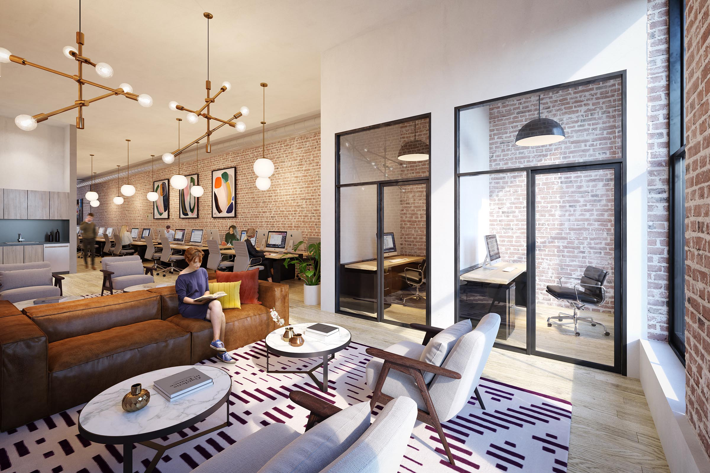 office lounge rendering real estate new york