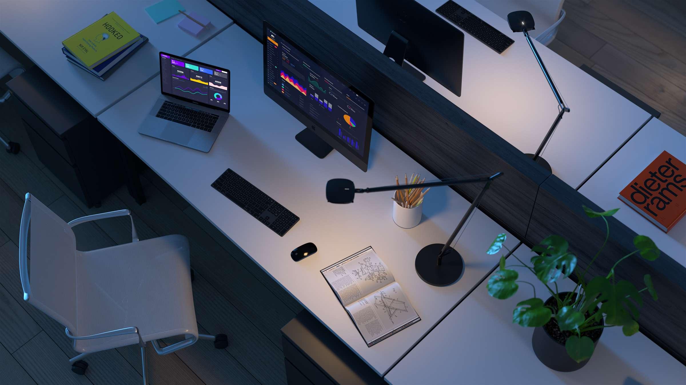office desk night render